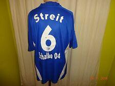 """FC Schalke 04 ADIDAS maglia di casa 2008/09 """"Gazprom"""" + N. 6 armate taglia XL TOP"""