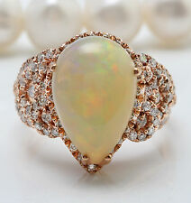 7.14CTW Natural Ethiopian Opal and Diamonds in 14K Solid Rose Gold Women Ring