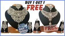 WHITE SONAM KUNDAN ZERCONIC PARTYWEAR & BRIDAL NECKLACE SET BUY ONE GET ONE FREE