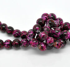 50 x 8mm Fuchsia Pink & Black Mottled Round Glass Marble Effect Beads T63