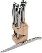 Laguiole 6 Piece Steak Knife Set in Beechwood Block - NIB