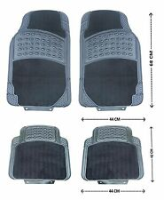 4PCS BLACK CAR FLOOR MAT MATS SET CARPET & RUBBER NON-SLIP GRIP FRONT REAR