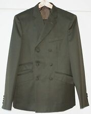 "Tailor-made Double-Breasted Dark Green Suit, Size M, 38"", DNA Groove Styled"