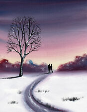SARAH FEATHERSTONE, ORIGINAL WATERCOLOUR PAINTING, WINTER SNOW, EVENING SKY,WALK