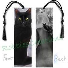 "BLACK CAT Large BOOKMARK 6"" w/TASSEL Scary Halloween Art Book Mark CARD figurine"