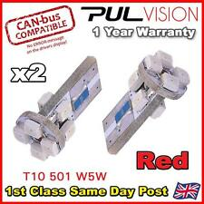 2 x 8 SMD LED ERROR FREE CANBUS LED 501 W5W SIDELIGHT BULB - Red