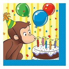 16 Curious George Childrens Party 5in 2ply Paper Beverage Napkins Serviettes