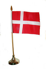 """DENMARK COUNTRY 4"""" X 6"""" INCH STICK FLAG WITH GOLD STAND ON 10"""" PLASTIC POLE"""