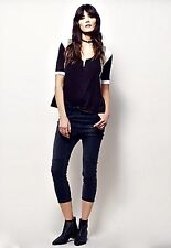 Free People X One Teaspoon black Patched Harem Jeans elastic waist S $148