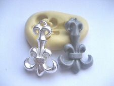 Long fleur de lis 32mm flexible silicone mold for fondant chocolate clay & more