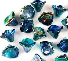 20 CZECH FLOWER BELL BLUE METALLIC AB GLASS LOOSE BEADS JEWELRY CRAFT 10X12MM
