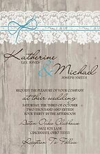 Wedding Invitations Wood Lace Twine Rustic 50 Invitations & RSVP Cards Any Color