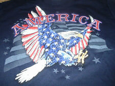 New USA American Flag Mens  Eagle Blue T-Shirt Size Large L