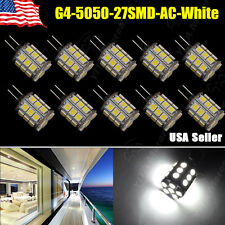 10 Pcs Super Bright Pure White G4 Pin 27 SMD LED 5050 360 Degree 12V AC/DC 450LM