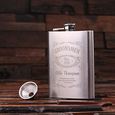 6 Personalized Stainless Steel Flasks – 8 oz. Groomsmen's Father's Birthday