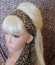 BROWN LEOPARD ANIMAL PRINT COTTON HEAD HAIR BAND SELF TIE BOW RETRO GLAMOUR