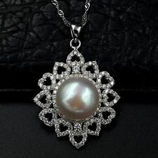 12m White Freshwater Pearl CZ Pendant Necklace Chain 925 Sterling Silver 07527