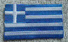 GREECE FLAG PATCH Embroidered Badge Iron Sew on 4.5cm x 6cm Greek Hellas Ἑλλάς