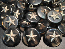 50pcs INCREDIBLE!! Military Star Button w/Imm GreyTortoise Shell 23/mm