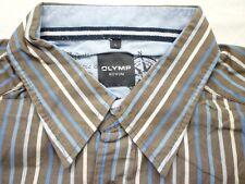E8030 Olymp Novum Businesshemd Kurzarm L braun, blau, weiß gestreift Neuwertig