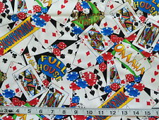 """CARD GAMES COTTON FABRIC Poker Roulette Cards Chips Texas Holdem Lg YARD -37.5"""""""