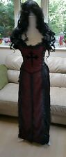 Raven Gothic Victorian Vintage fancy Dress Corset + siren wig! 10 12