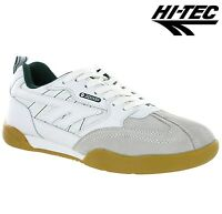 MEN WHITE HI TEC SQUASH CLASSIC RUNNING BADMINTON GYM CASUAL WALKING TRAINER SZ