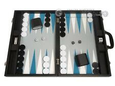 "19"" Premium Backgammon Set - Large Size - Black Board, White/Astral Blue Points"