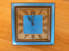 Art Deco IOCO 15 jewels Swiss Made Sky Blue Guilloche Enamel Desk Clock