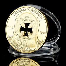 Gold Plated Coin Nazi Germany,1914-1945, Niemals Vergessen, Commemorative Coin