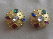 VTG ETRUSCAN TEXTURED MATTE GOLD PL & MULTI COLOR RHINESTONE  CLIP ON EARRINGS