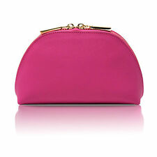 DELUXE PINK SAFFIANO LEATHER LEXI COSMETIC MAKE-UP TRAVEL CASE BAG by MPS