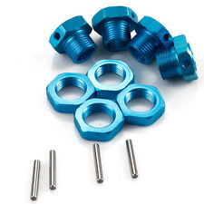 Blue Wheel Hex 17mm Hub Nuts & Pin Aluminum For RC 1/8 Buggy Truck Tire 4pcs