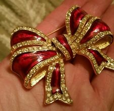 Joan Rivers Large Red enamel and Crystal Bow Pin