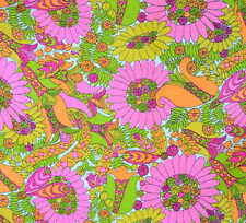 Vtg 60s Mod Retro Floral Hippie Print Sewing Fabric Clothing Scrap Upcycle