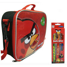 Angry Birds Insulated Lunch Bag Box + 3pk Toothbrushes Red and Pig NEW