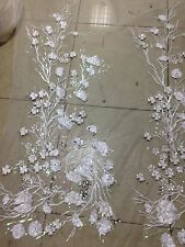 handmadeFLORAL EMBROIDERY BEADS FABRIC/white mesh lace/white Sequins/flower tree