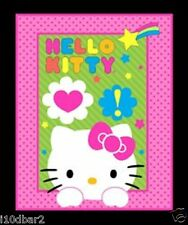 HELLO KITTY FABRIC PANEL BABY QUILT top NEON EXPRESSIONS HELLO KITTY WALLHANGING