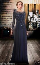 Chiffon Long Sleeve Applique Beaded Pageant Prom Gown Formal Party Evening Dress