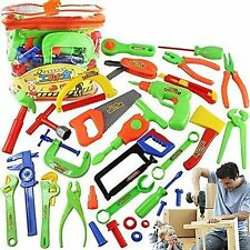 34pc Pretend Tools Toy Set Kids Children Learn Play Workshop Toolbox Workbench