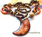 Women Trendy Unique African Culture Style Crescent Moon Wood Beads Necklace