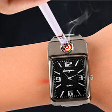 Fashion Quartz WristWatch USB Charging Flameless Cigarette Lighter Wrist Watch