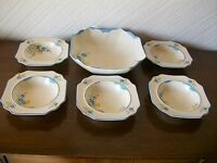Art Deco Crown Devon Fieldings (2549) Fruit Set, 6 Bowls