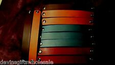 "#BR8w LOT OF TEN 1"" WHITE or DYED LEATHER  BRACELET  BLANKS ROUNDED ENDS"