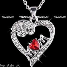 Mother's Day Red Heart Diamond Necklace & Rose Unique Mum Birthday Gift Jewelry