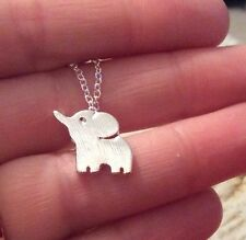 FREE GIFT BAG Silver Plated Elephant Animal Cute Necklace Chain Xmas Jewellery