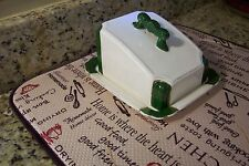 Antique Porcelain Butter or cheese Dish with plate ~ GREEN, WHITE AND GOLD TRIM