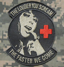 THE LOUDER YOU SCREAM ARMY MEDIC EMS EMT ACU LIGHT VELCRO® BRAND FASTENER PATCH