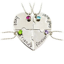 4P Best Friend Forever BFF Friends Heart Puzzle Friendship Crystal Necklace Gift