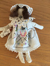 Old Time Cloth Doll Dress is Old Embroidered Piece  Brooch at Neck Lots of Lace